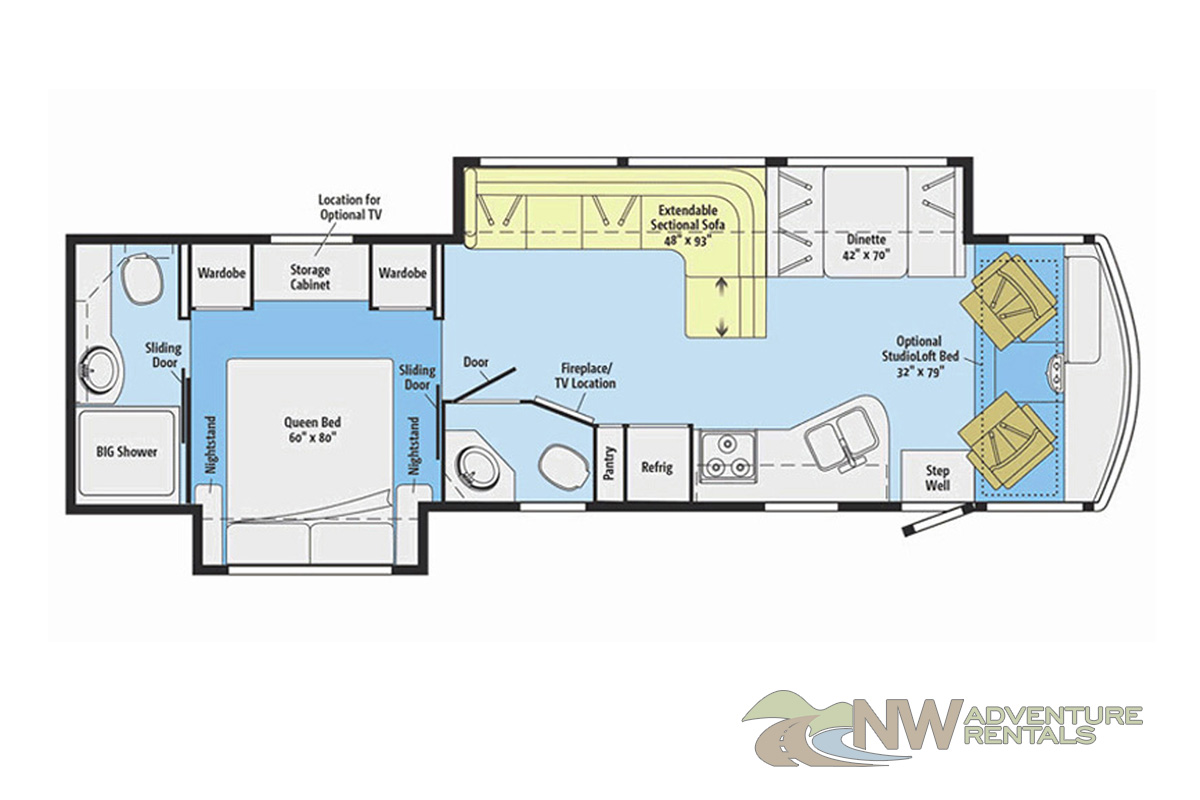 NW Adventure Rentals - 2017 Itasca Floorplan