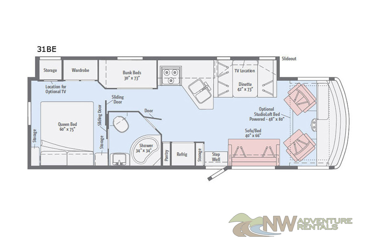 NW Adventure Rentals - 2018 Vista Floorplan