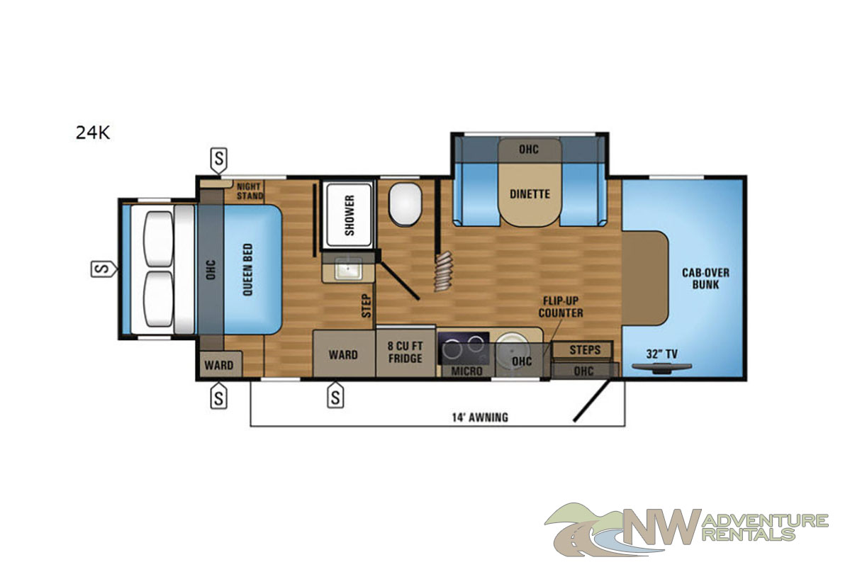 NW Adventure Rentals - 2019 Melbourne 1 Floor plan