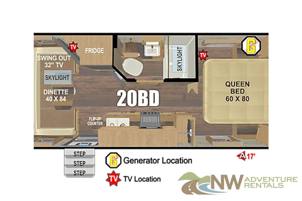 NW Adventure Rentals - 2020 MOUNTAIN TRAX FLOORPLAN
